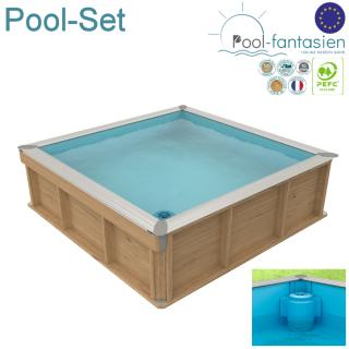 Kinderholzpool-Set Kinderbecken 2 x 2 m Pistoche